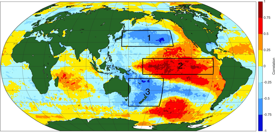 Phase positive de l'oscillation interdécennale du Pacifique (IPO). Source : NOAA.