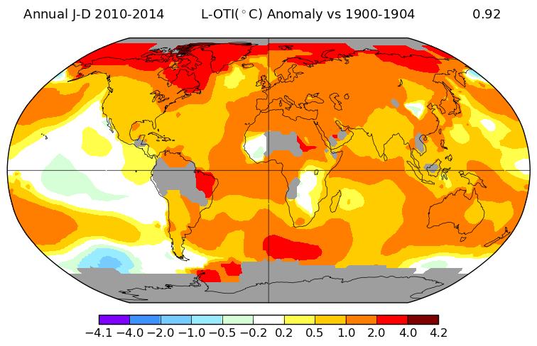Elevation de la température annuelle mondiale entre la période 1900-1904 et 2010-2014. Source : NASA.