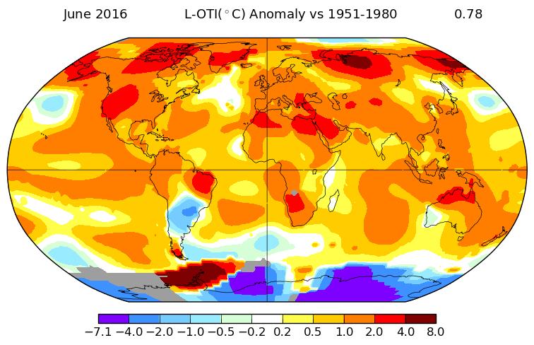 Anomalies de températures au mois de juin 2016. Source : NASA.
