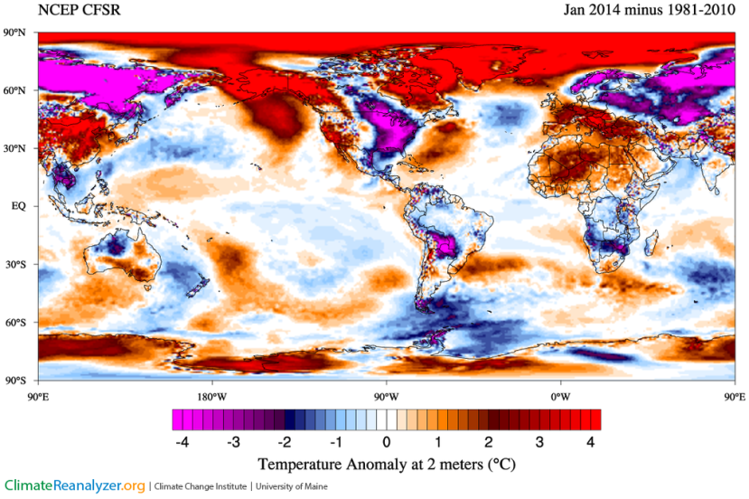 Anomalies de températures en janvier 2014 (source : NCEP/CFSR - Climate Renalyzer)
