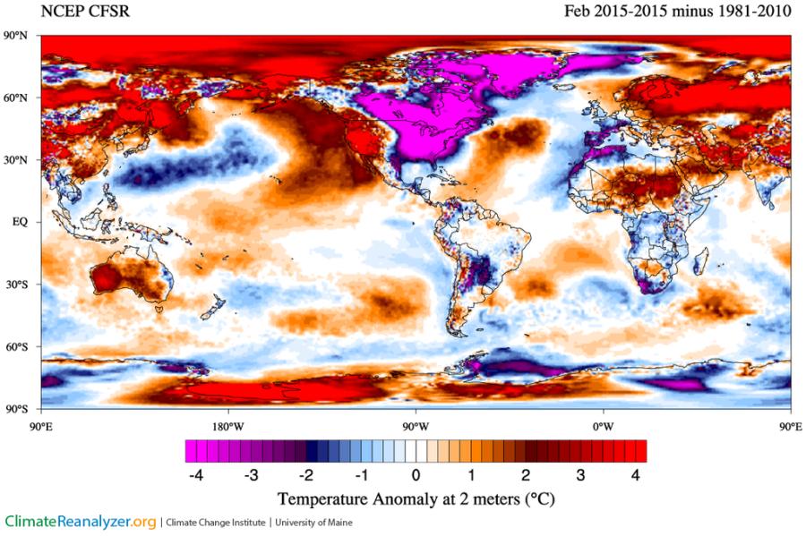 Anomalies de températures en février 2015 (source : NCEP/CFSR - Climate Renalyzer)