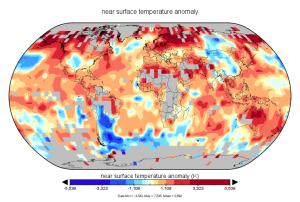 Anomalies de températures mai 2016 (HadCRUT4/Met Office).