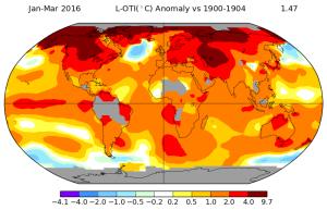 Evolution de la température sur janvier-mars entre 1900-1904 et 2016. Source : NASA.