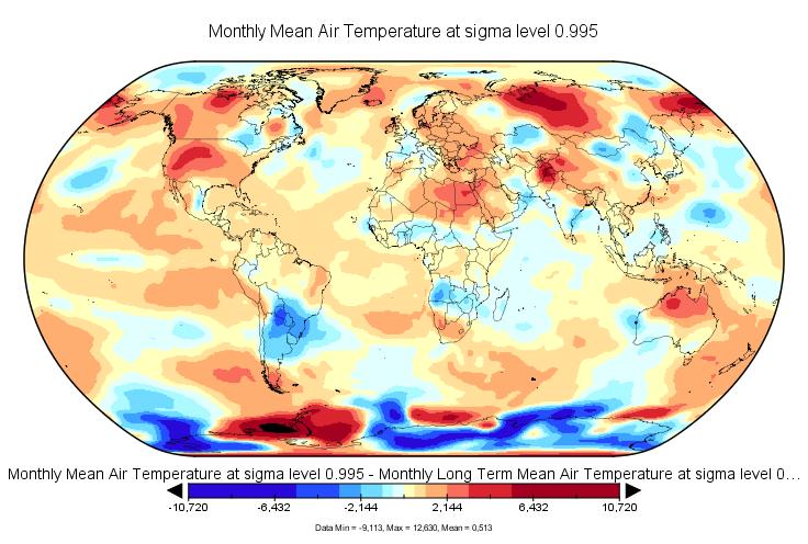 Anomalies de températures au mois de juin 2016.