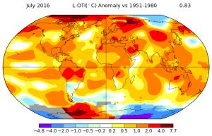 Anomalies de températures au mois de juillet 2016. Source : NASA.