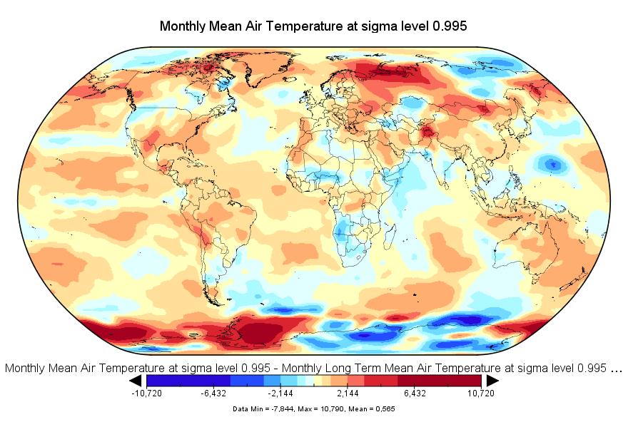 Anomalies de températures au mois de juillet 2016.