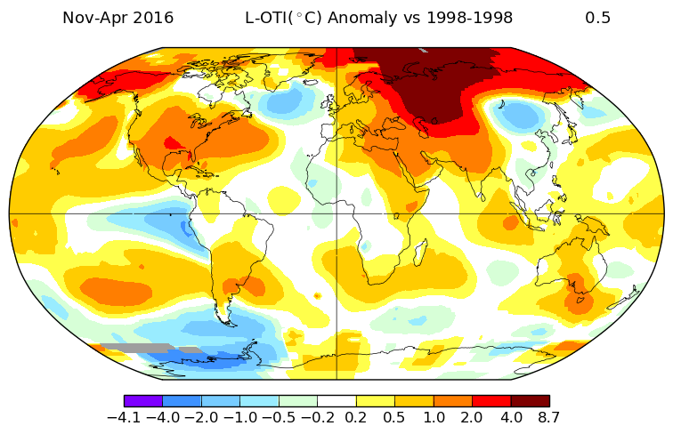 Anomalies de températures : anomalies de novembre à avril 2015/16 vs nov-avr 1998/99. Source : NASA.