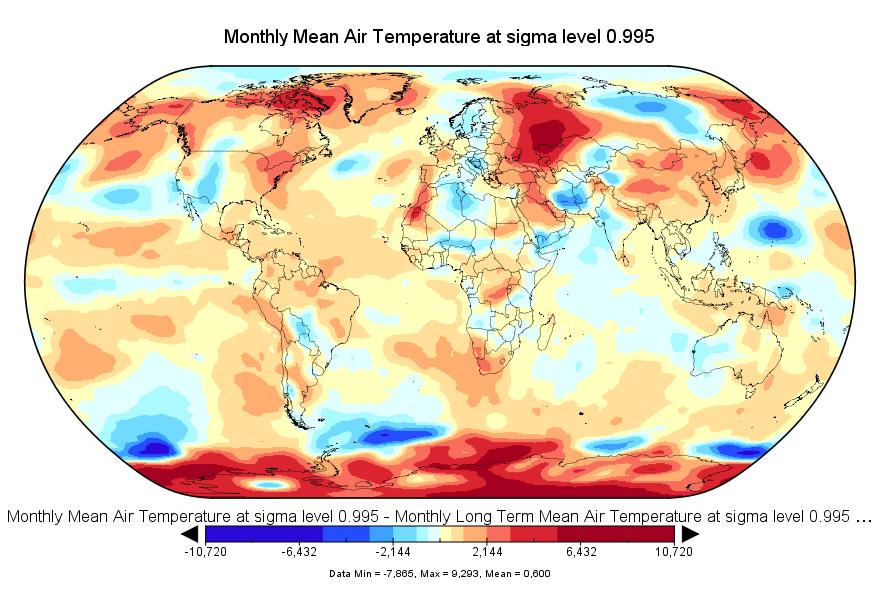 Anomalies de température en août 2016 (source NCEP-NCAR)