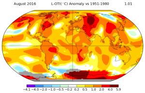 Carte d'anomalies de températures. Source : NASA.