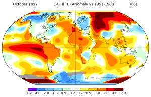Anomalies de températures pour le mois d'octobre 1997. Source : NASA.