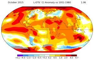 Anomalies de températures pour le mois d'octobre 2015. Source : NASA.