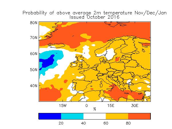 Probabilité de températures au-dessus de la moyenne sur novembre-décembre-janvier (prévision datant d'octobre 2016). Source : Met Office
