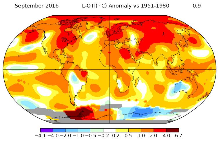 Anomalies de température pour le mois de septembre 2016. Source : NASA GISS.