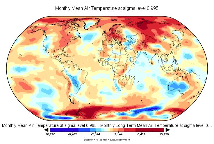 Anomalies de température en septembre 2016 (source : NCEP-NCAR).
