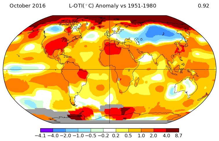 Anomalies de température pour le mois d'octobre 2016. Source : NASA GISS.