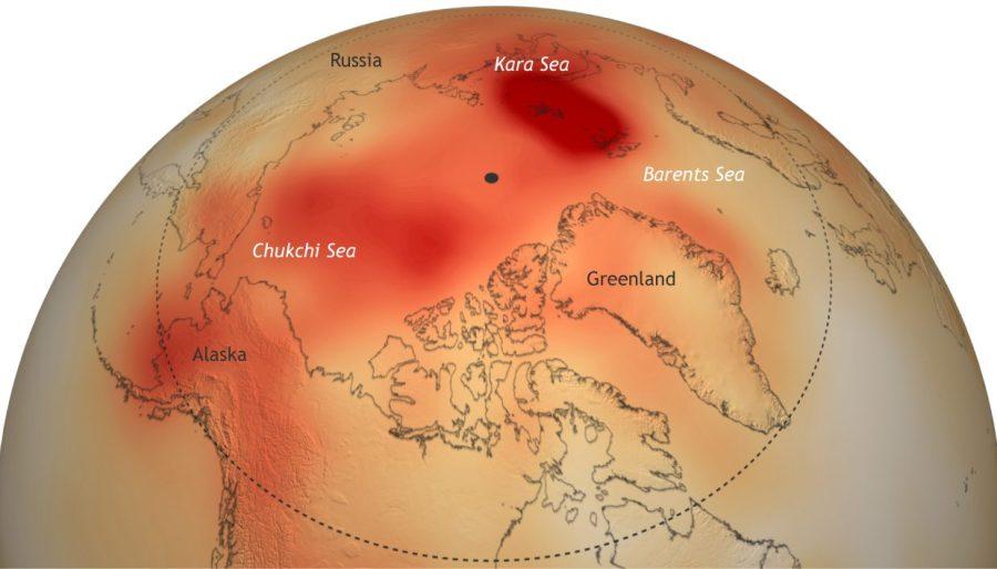 Anomalies de températures entre octobre 2015 et septembre 2016. Source : NOAA Climate.gov basé sur la réanalyse NCEP.