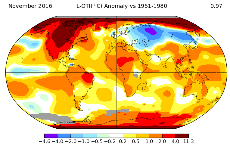 Anomalies de température pour le mois de novembre 2016. Source : NASA GISS.