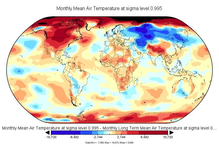 Anomalies de température en novembre 2016 (source : NCEP-NCAR).