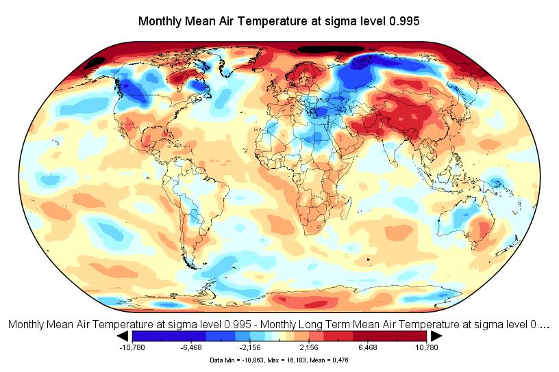 Anomalies de température en décembre 2016 (source : NCEP-NCAR).