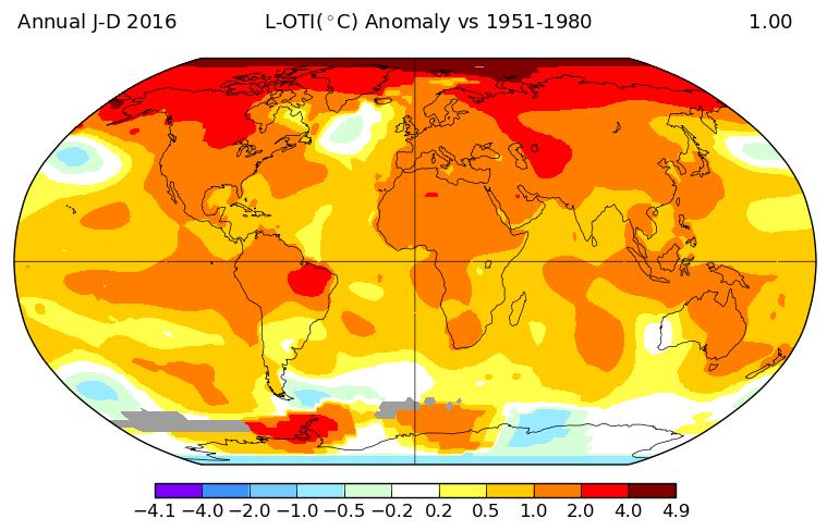 Carte d'anomalies pour l'année 2016 (écart à la moyenne 1951-1980). Source : NASA GISS.