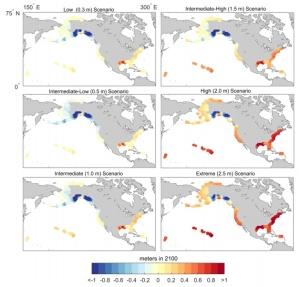 Evolution du niveau de la mer en 2100 par rapport aux différents scénarios. Source : NOAA.
