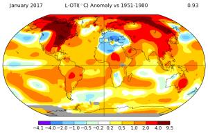 Anomalies de température pour le mois de janvier 2017. Source : NASA GISS.