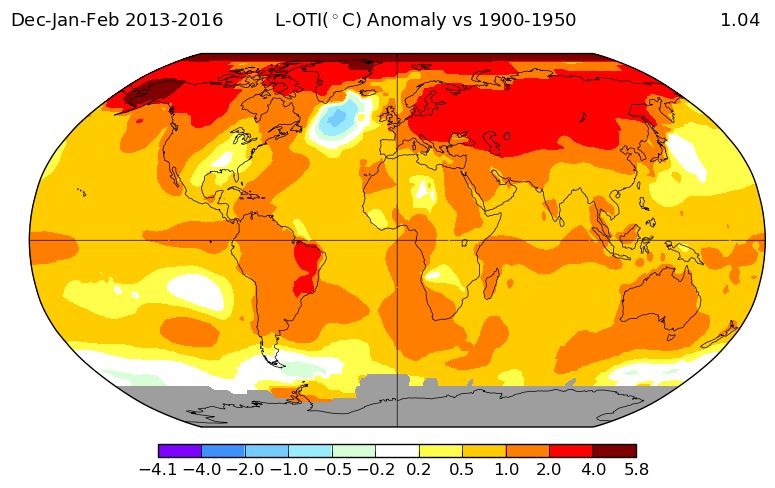 Anomalies de températures en hiver 2013 et 2016 (par rapport à la période 1900-1950) : on voit une zone froide au sud du Groenland. Source : NASA GISS.