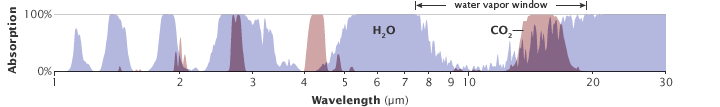 """All atmospheric gases have a unique pattern of energy absorption: they absorb some wavelengths of energy but are transparent to others. The absorption patterns of water vapor (blue peaks) and carbon dioxide (pink peaks) overlap in some wavelengths. Carbon dioxide is not as strong a greenhouse gas as water vapor, but it absorbs energy in wavelengths (12-15 micrometers) that water vapor does not, partially closing the """"window"""" through which heat radiated by the surface would normally escape to space. (Illustration adapted from Robert Rohde.)"""