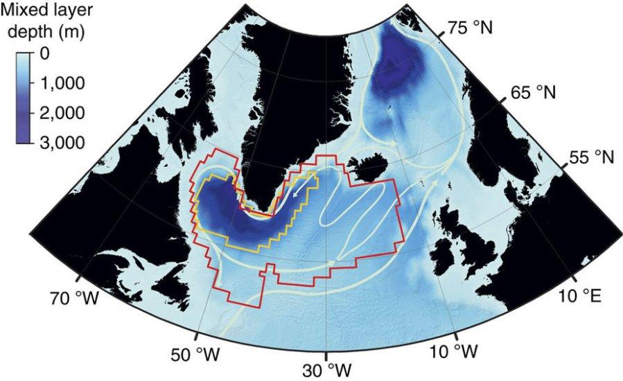 Représentation schématique de la circulation dans la mer du Labrador, au cœur du gyre subpolaire schématisé par le contour rouge. Crédit : Giovanni Sgubin – EPOC.