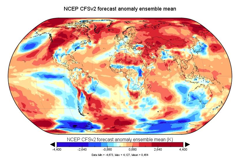 Prévision de température globale pour septembre 2017