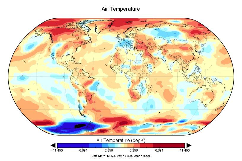 2017 sera la deuxième année la plus chaude,  d'après Ncep-Ncar