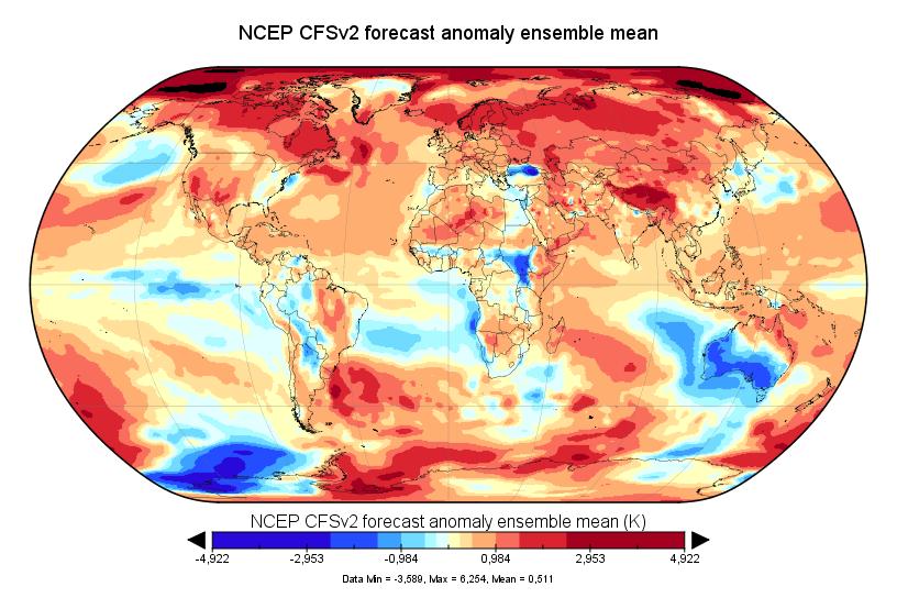 Prévision de température globale pour octobre-novembre 2017