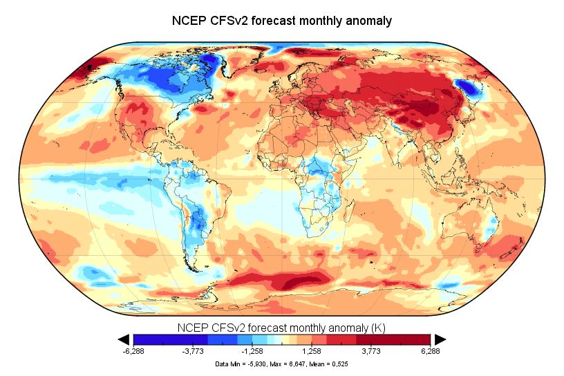 Prévision de température globale pour janvier 2018