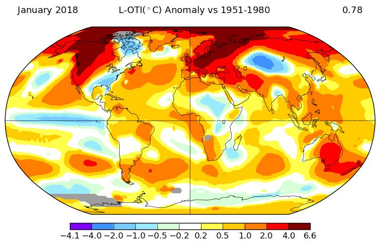 +0,78°C en janvier 2018, selon la NASA