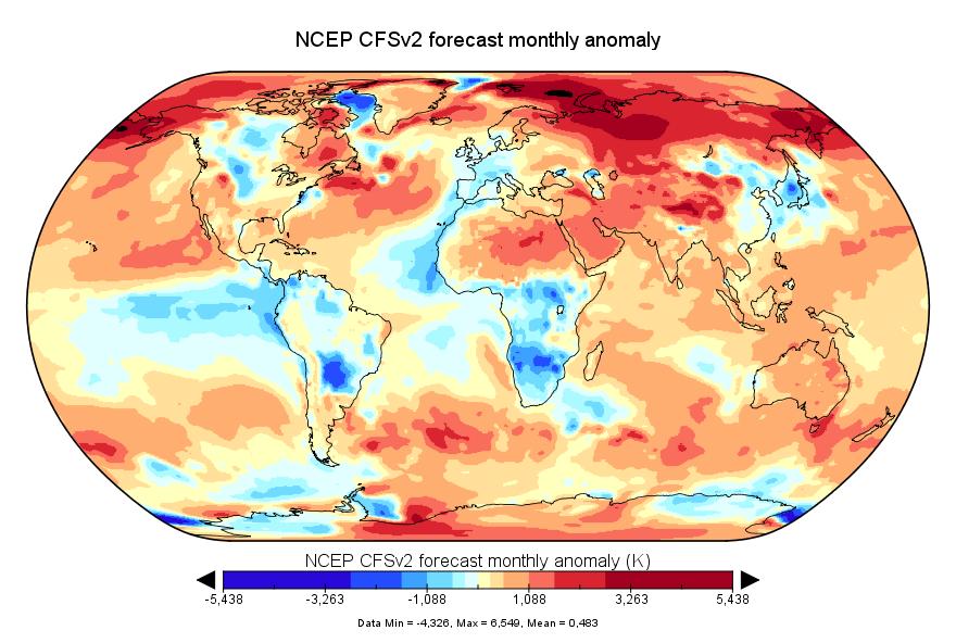 Prévision de température globale pour mars 2018