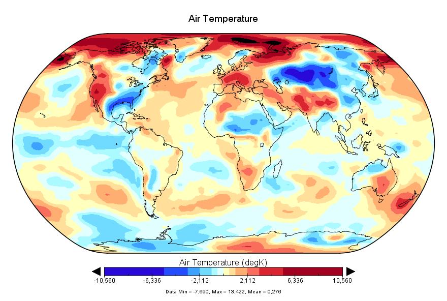 Température mondiale :  janvier 2018, le 7e plus chaud des archives