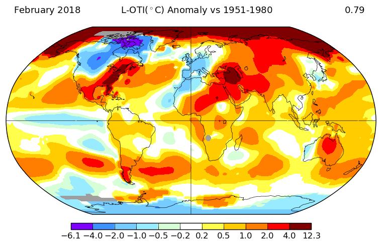 +0,78°C en février 2018, selon la NASA