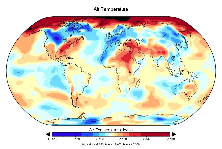Température mondiale :  février 2018 au 4e rang