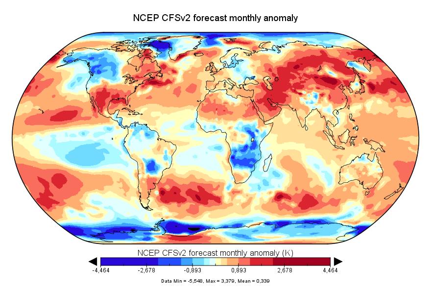 Prévision de température globale pour avril 2018