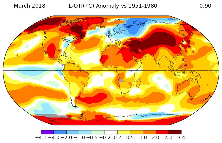 +0,89°C en mars 2018, selon la NASA