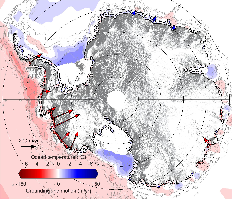 Un retrait rapide des lignes d'échouage des glaciers en Antarctique