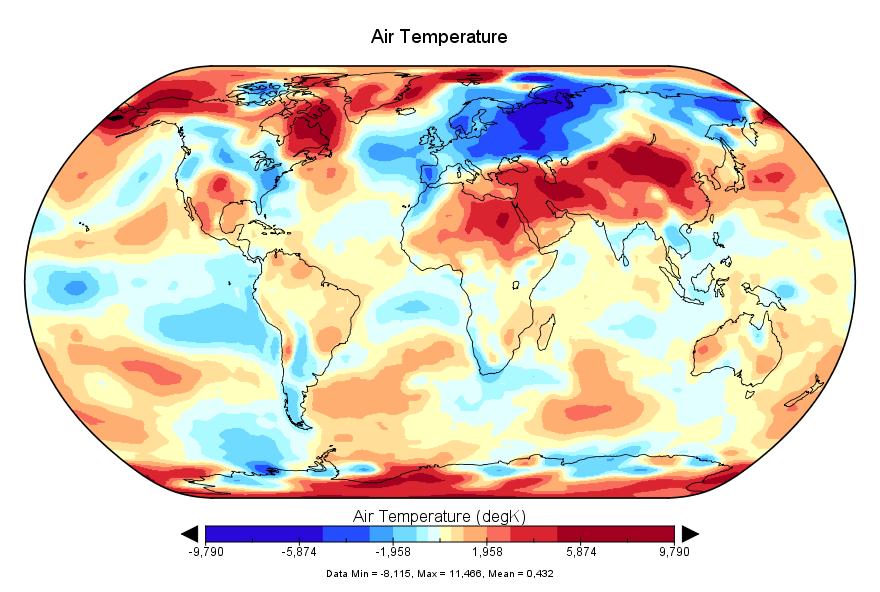 Température mondiale :  mars 2018 au 4e rang malgré La Niña