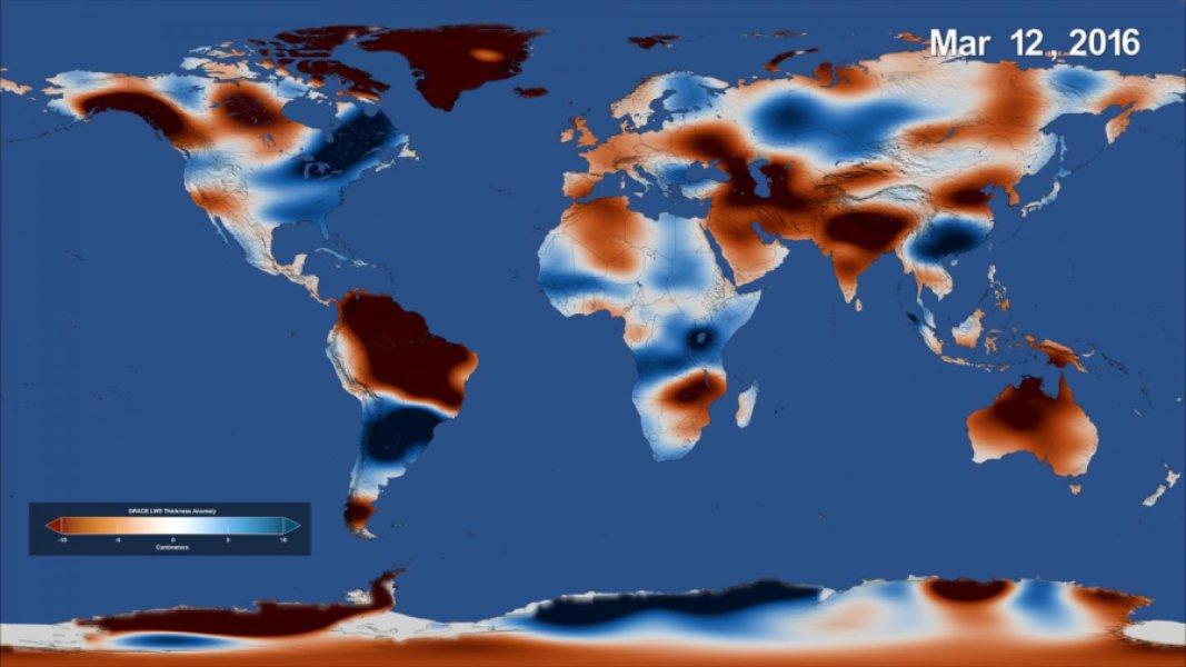 Les données GRACE du bilan d'eau douce sur Terre