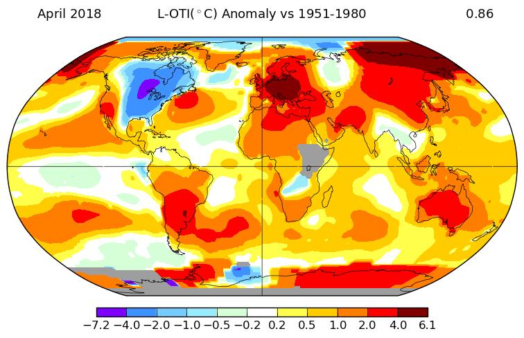 Température mondiale : +0,86°C en avril 2018, selon la NASA