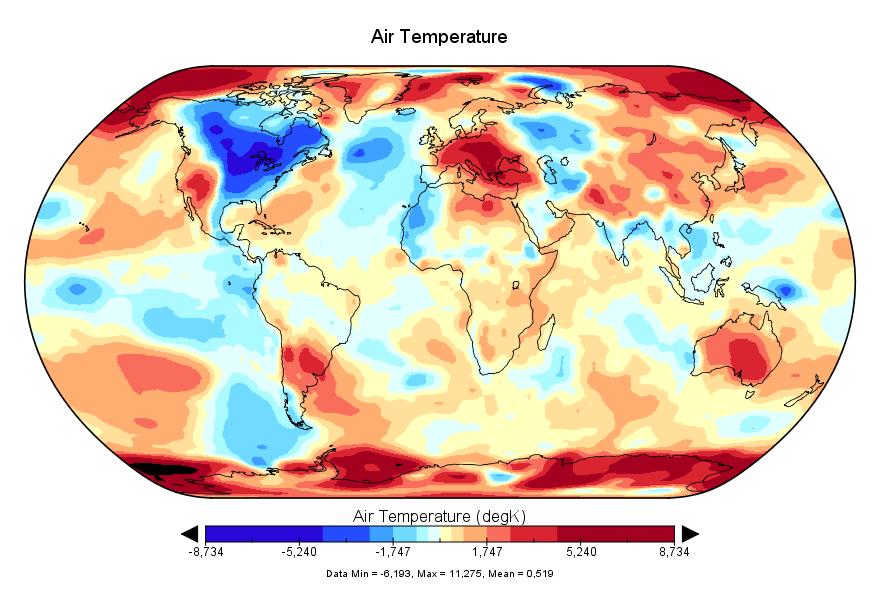 Température mondiale :  +0,519°C en avril 2018