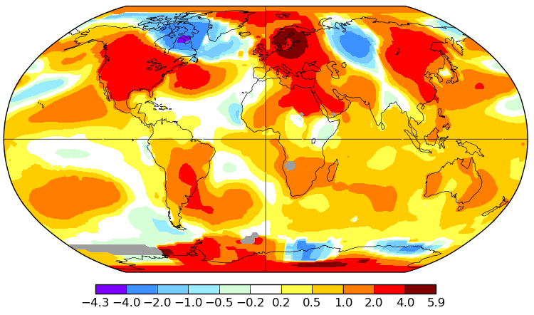 Température mondiale : +0,82°C en mai 2018, selon la NASA