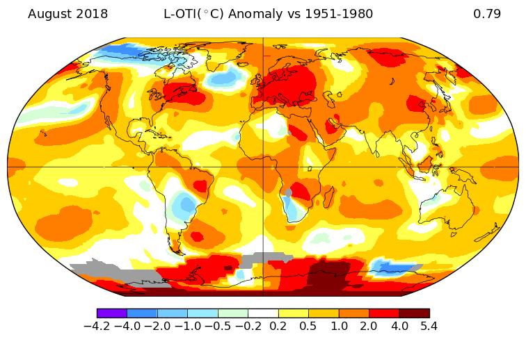 Température mondiale : +0,77°C en août 2018, d'après la NASA