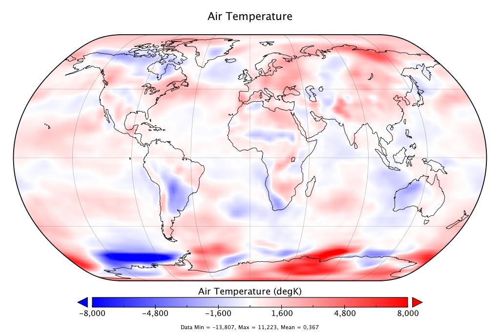 Température mondiale :  +0,367°C en août 2018