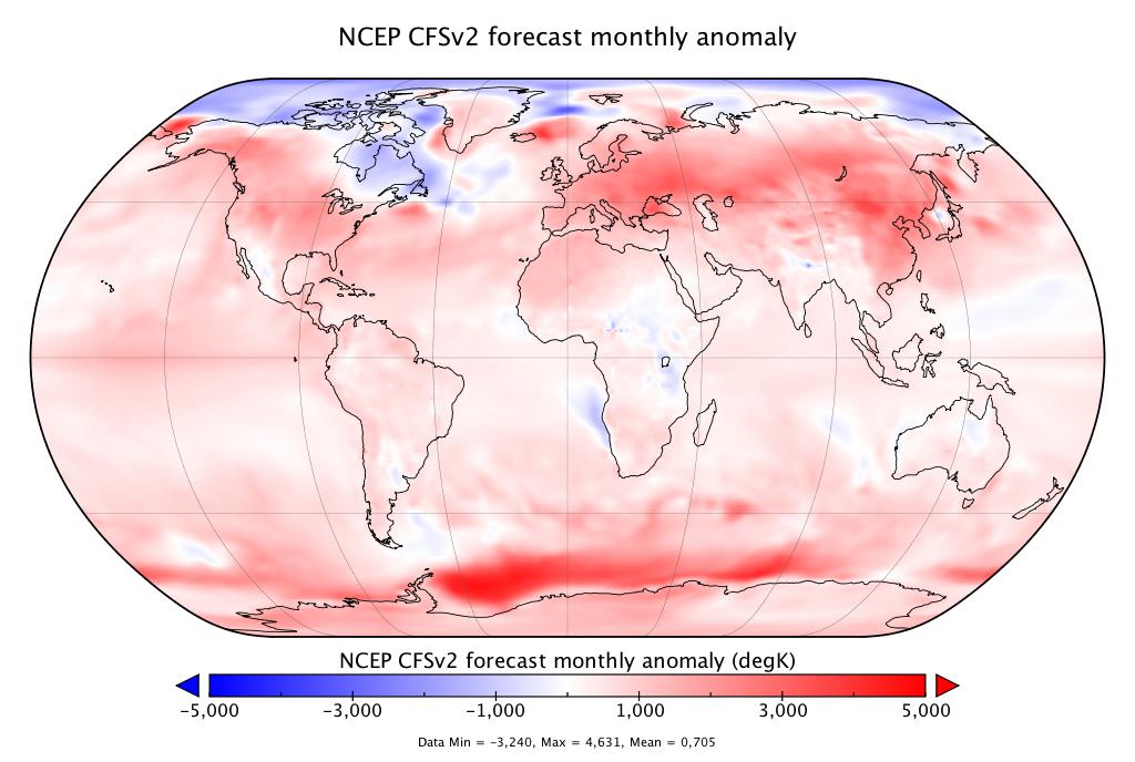 Prévisions de température globale pour les six mois à venir