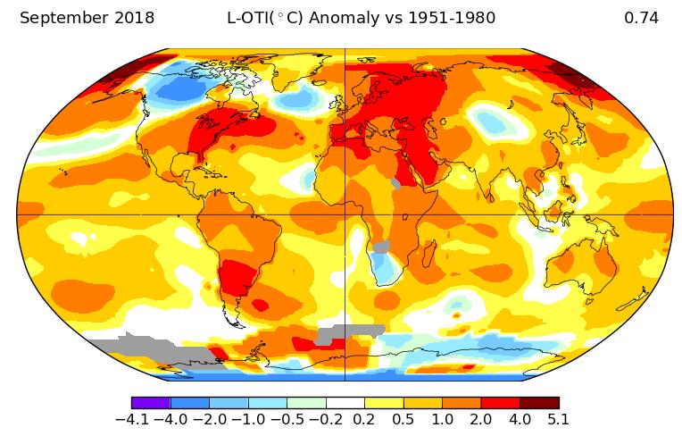 Température mondiale : +0,75°C en septembre 2018, d'après la NASA